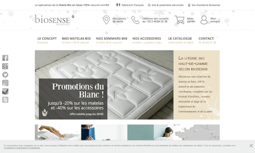 Biosense Bedding, matelas en latex 100% naturel