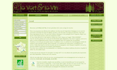 Le Vert et le Vin Alcool, vin et spiritueux